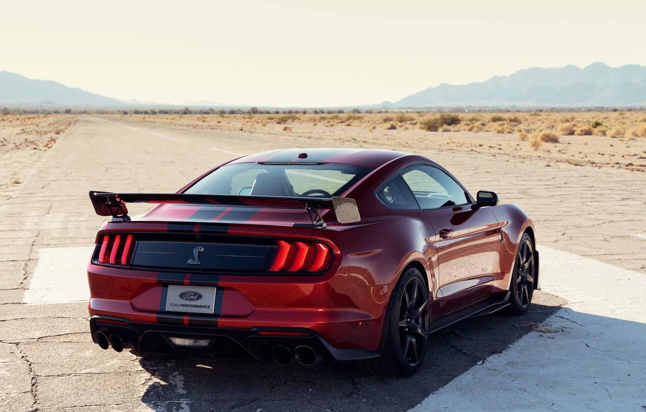 Photo wallpaper machine, asphalt, strips, red, style, coupe, lights, spoiler, Ford Mustang Shelby GT500