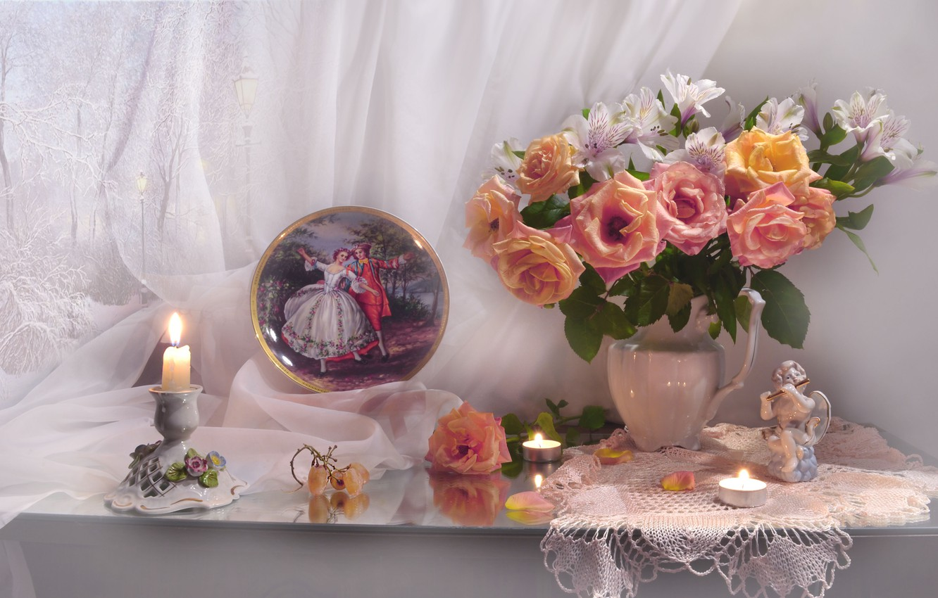 Photo wallpaper flowers, roses, picture, candles, petals, grapes, figurine, pitcher, curtain, napkin, figure, dish, Valentina Fencing
