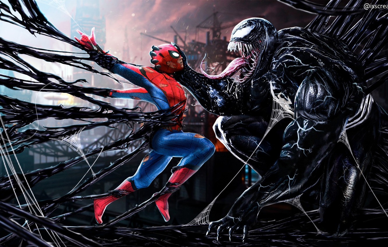 Photo wallpaper Tom Hardy, Venom, Peter Parker, Spider Man, Eddie Brock, Tom Holland