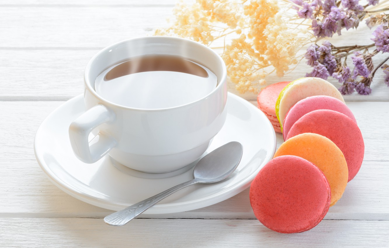 Photo wallpaper flowers, colorful, dessert, pink, flowers, cakes, cup, sweet, sweet, dessert, tea, bright, macaroon, french, macaron, …