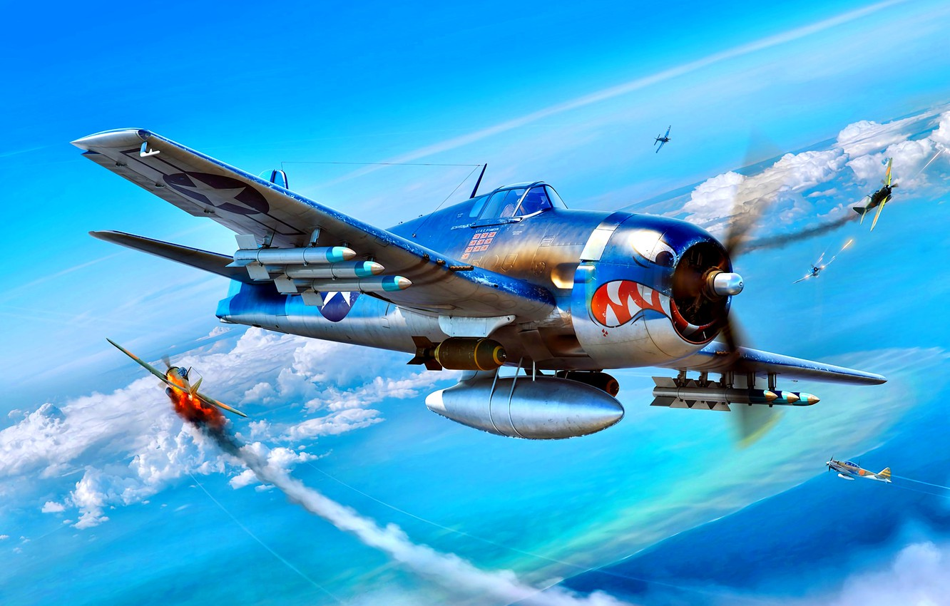 Photo wallpaper F6F-3, The second World war, Rocket, High, Aircraft, Velocity, bombs, Pacific theater of operations, external …