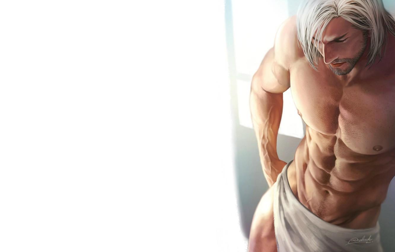 Photo wallpaper background, towel, guy, naked torso