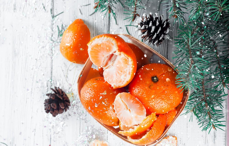 Photo wallpaper snow, decoration, New Year, Christmas, Christmas, wood, winter, snow, fruit, New Year, tangerines, decoration, tangerine, …