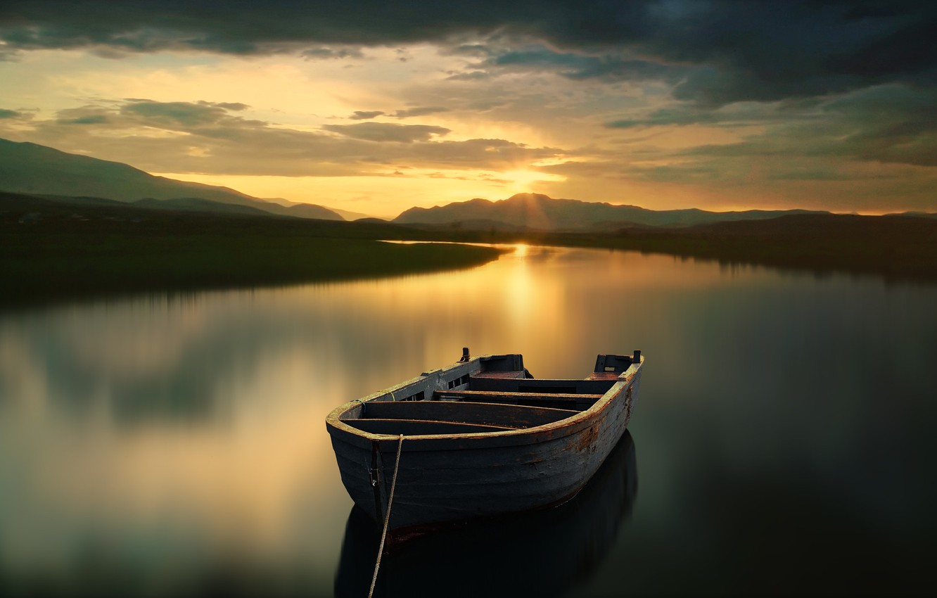 Photo wallpaper sunset, mountains, lake, boat, the evening, Antonio Loved
