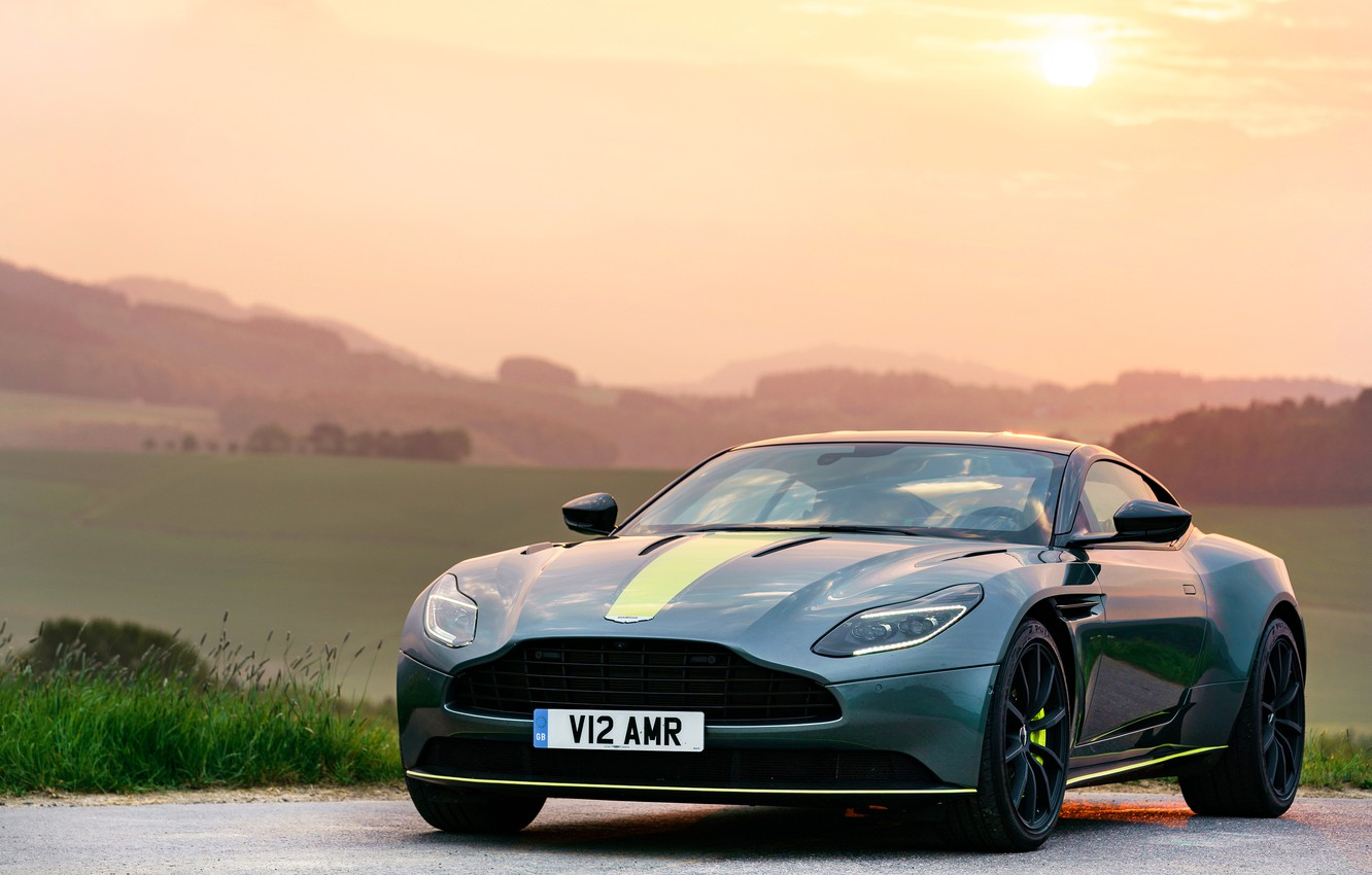 Photo wallpaper sunset, Aston Martin, 2018, DB11, AMR, Signature Edition