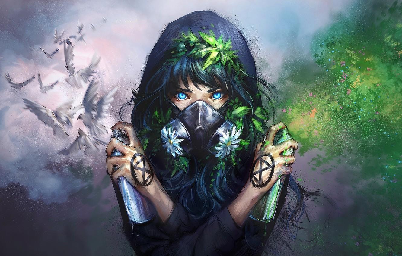 Photo wallpaper green, girl, white, graffiti, nature, art, blue eyes, flowers, birds, painting, digital art, dove, artwork, …