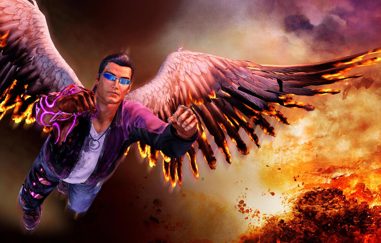 Wallpaper Fire Flame Wings Wings Saints Johnny Saints Row
