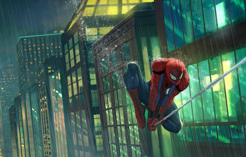 Photo wallpaper City, Art, New York, Rain, Peter Parker, Spider Man