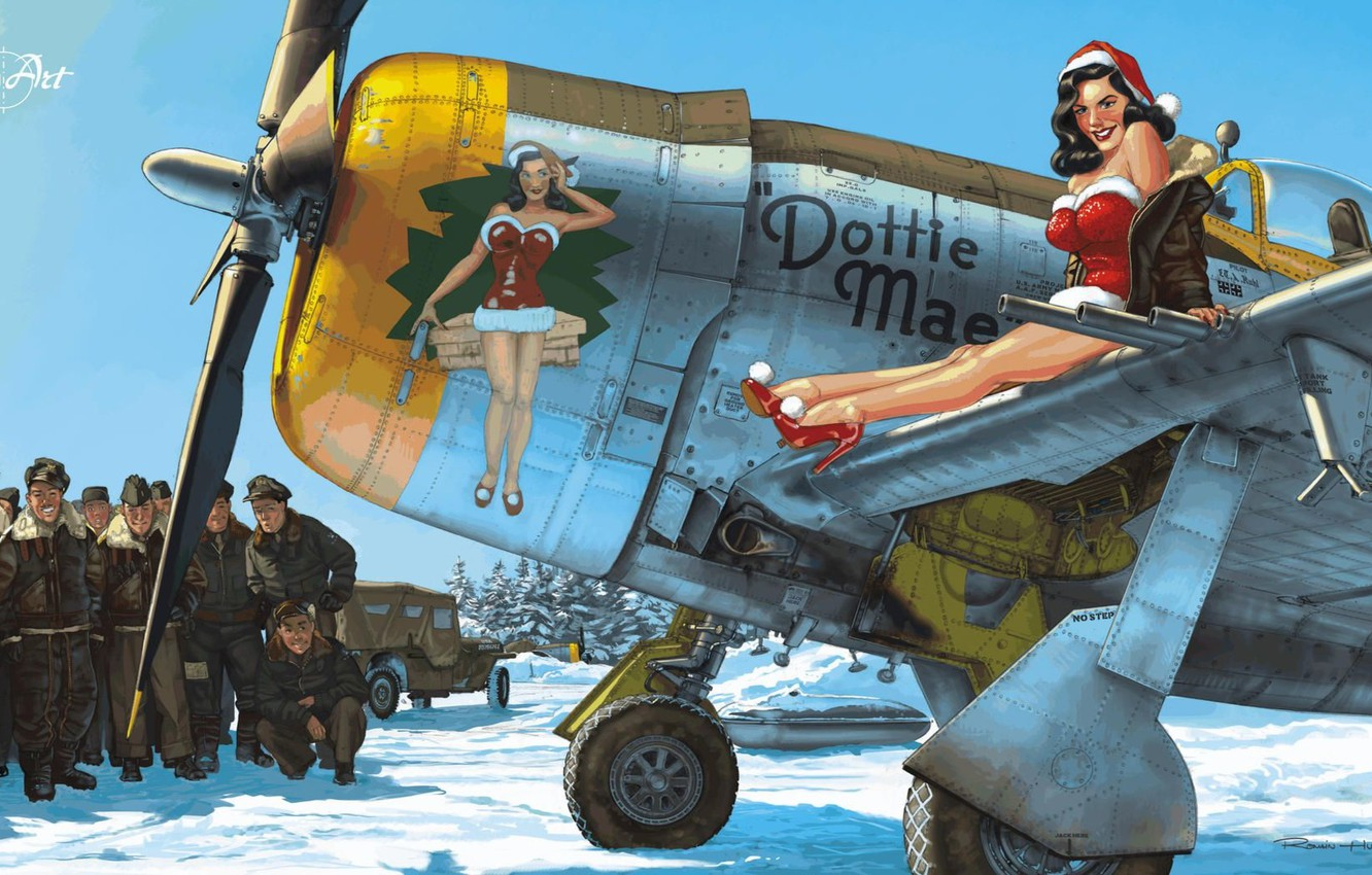 Photo wallpaper girl, snow, New Year, art, the plane, USAF, pin-up, P-47 Thunderbolt
