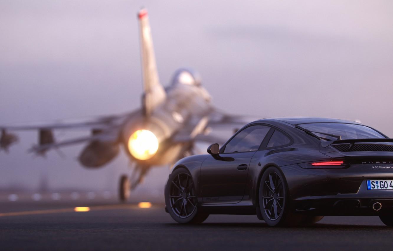 Photo wallpaper rendering, 911, Porsche, rear view, F-16, 2018, CGI, Carrera T, Gustavo Coutinho Alves