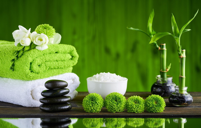 Photo wallpaper flowers, stones, bamboo, relax, towels, spa, bath salt