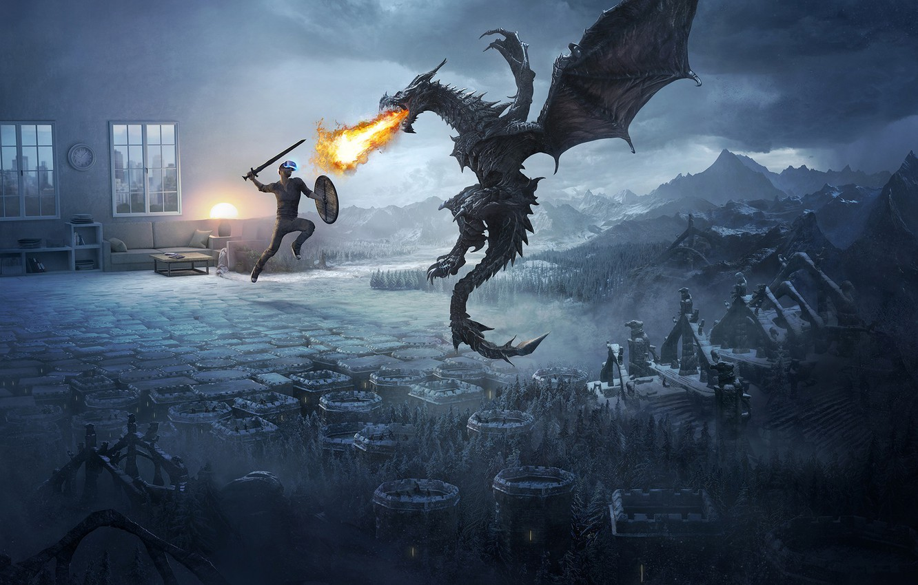 Wallpaper mountains, flame, dragon, fight, Skyrim images for desktop