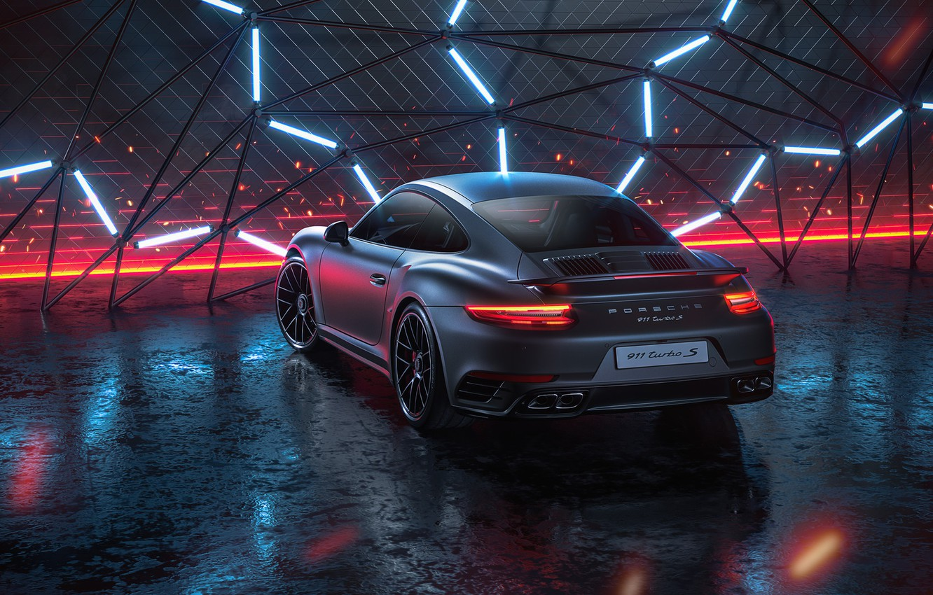 Photo wallpaper 911, Porsche, Neon, Machine, Grey, Porsche 911 Turbo, Rendering, Turbo S, Porsche 911 Turbo S, ...