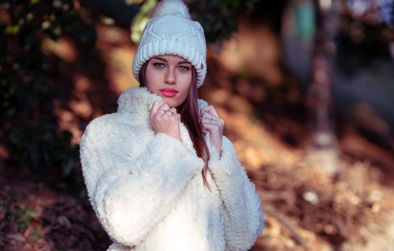 Photo wallpaper look, girl, pose, portrait, makeup, coat, beautiful, bokeh, Fabiana, Marco Squassina