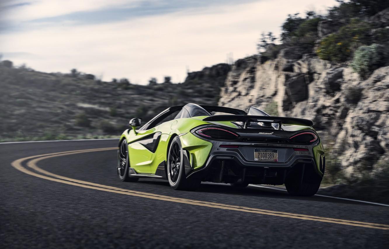Photo wallpaper McLaren, supercar, Spider, 2019, 600LT, Lime Green