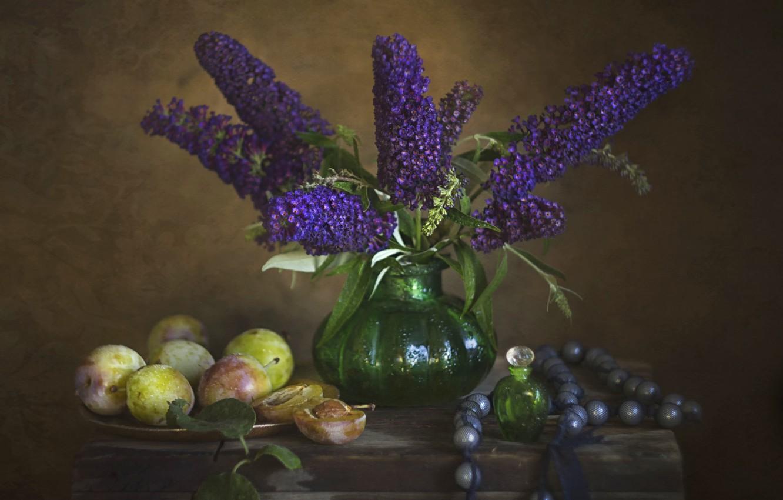 Photo wallpaper flowers, vase, plum, bottle, будлея