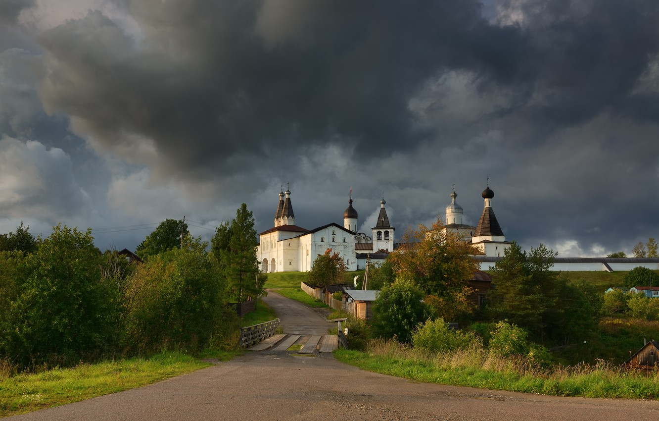 Photo wallpaper landscape, clouds, nature, the monastery, Maxim Evdokimov, Ferapontovo