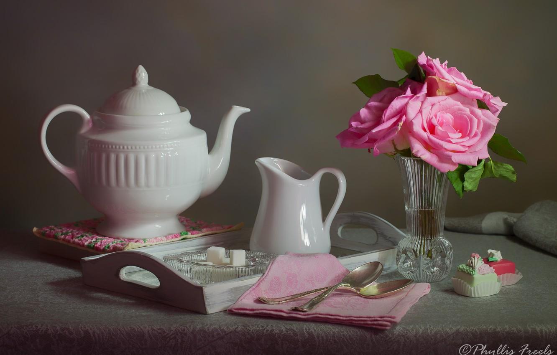 Photo wallpaper flowers, style, roses, kettle, sugar, still life, cakes, napkin, tray, vase, spoon
