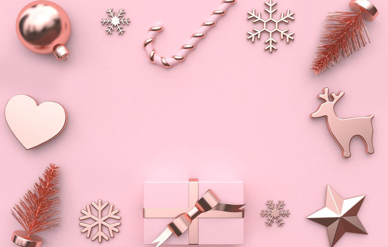 Photo wallpaper decoration, background, pink, balls, New Year, Christmas, Christmas, balls, pink, New Year, gift, decoration, xmas, …