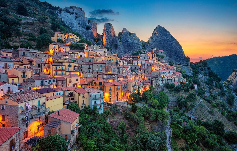 Photo wallpaper mountains, dawn, building, home, morning, slope, Italy, Italy, Basilicata, Castelmezzano, Basilicata, Castelmezzano