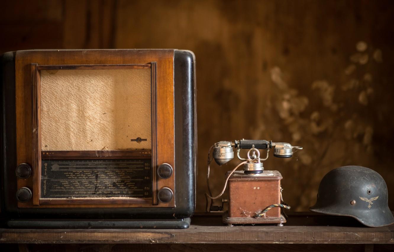 Photo wallpaper radio, helmet, phone