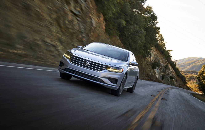 Photo wallpaper road, movement, slope, Volkswagen, sedan, Passat, 2020, 2019, US Version