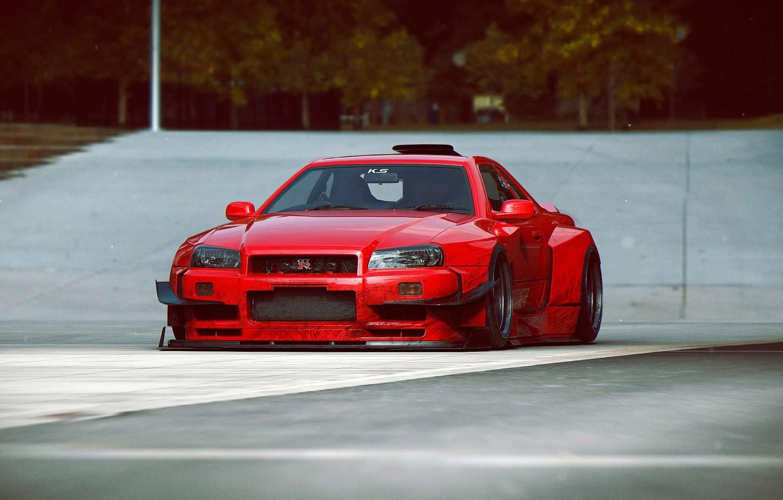 Photo wallpaper Nissan, Red, GT-R, Car, Skyline, Tuning, R34