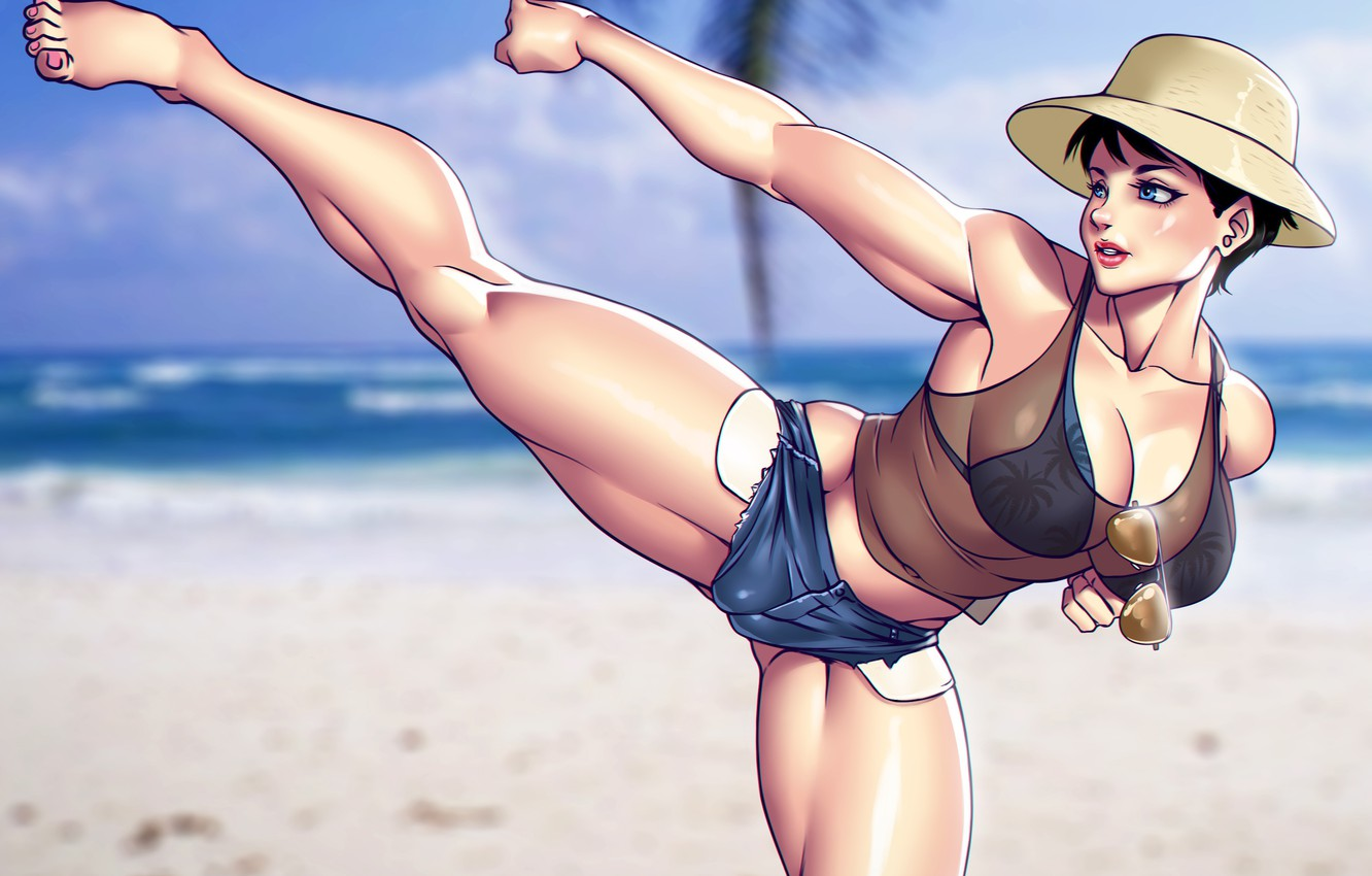 Photo wallpaper beach, chest, summer, girl, feet, body, shorts, hat, glasses, fighter, muscle