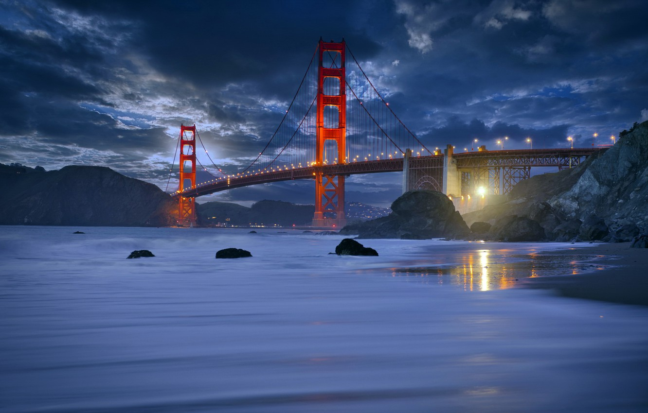 Photo wallpaper San Francisco, Marshall Beach, Rush Waves, golden gate bride