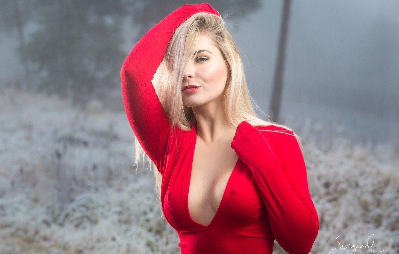 Photo wallpaper chest, model, Red, Girl, hairstyle, blonde, beauty, no bra, curvy, Nicolai Saxegaard, Michelle Vic