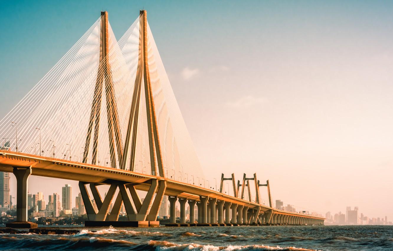 Photo wallpaper metal, wonder, cement, suspension bridge