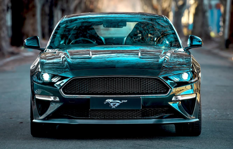 Photo wallpaper Mustang, Ford, front view, Bullitt, 2019