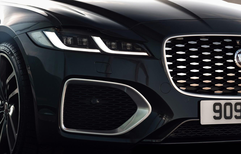 Photo wallpaper Jaguar, headlight, before, grille, bumper, universal, Jaguar XF, 2020, XF, XF Sportbrake