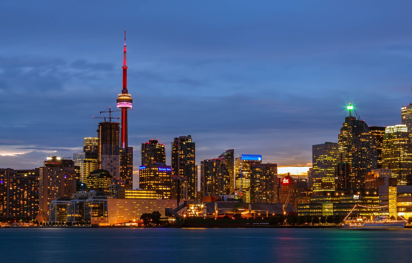 Photo wallpaper the sky, clouds, sunset, lights, lake, ship, building, tower, home, the evening, Canada, panorama, Ontario, ...