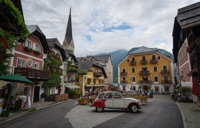 Photo wallpaper clouds, the city, home, Austria, area, Church, car, Hallstatt, Hallstatt, municipality, Hallstatt