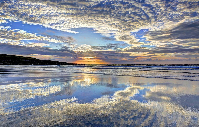 Photo wallpaper sea, the sky, the sun, clouds
