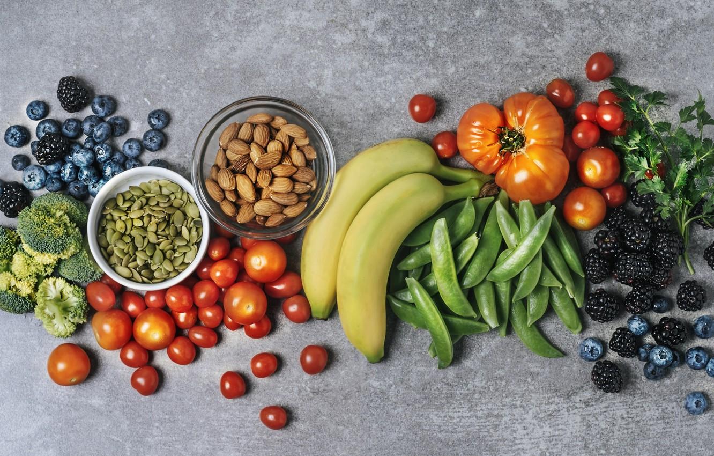 Photo wallpaper banana, fruits, table, tomatoes, seeds