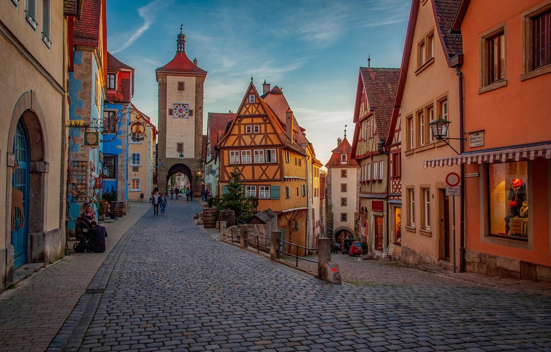 Photo wallpaper street, building, tower, home, Germany, Bayern, area, bridge, Germany, Bavaria, Rothenburg, Rothenburg, Plönlein, Square Plonlein, …