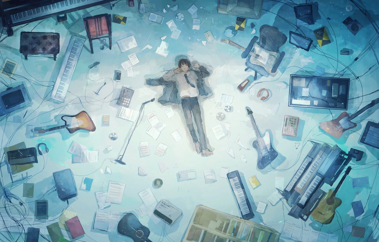 Photo wallpaper lies, guy, on the floor, musical instruments