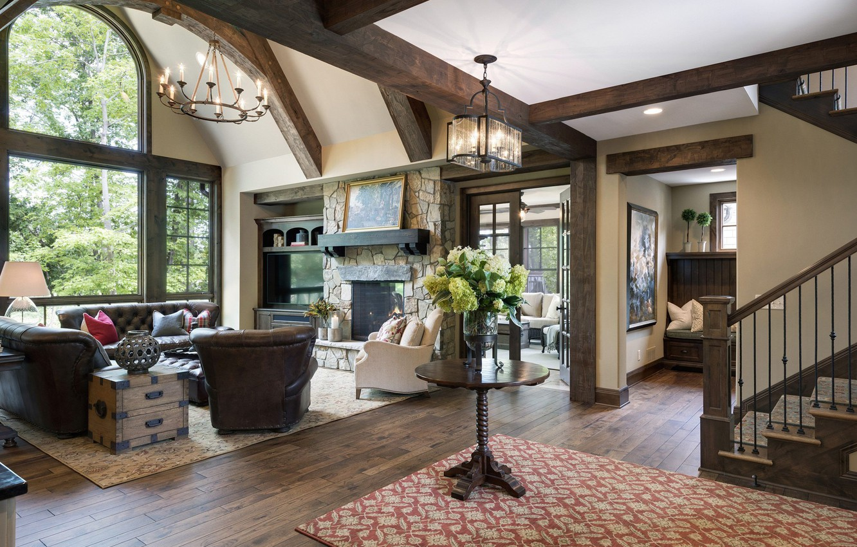 Photo wallpaper design, style, Villa, interior, ladder, fireplace, living room, hall