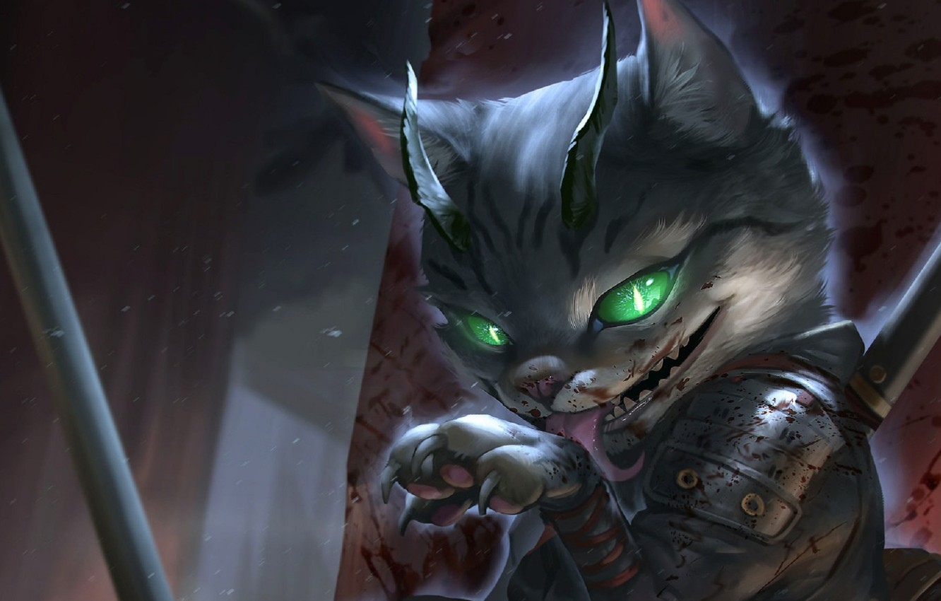 Photo wallpaper face, claws, horns, licked, Tomcat, burning eyes, blood spatter, hell of a grin, Cat assassin, …