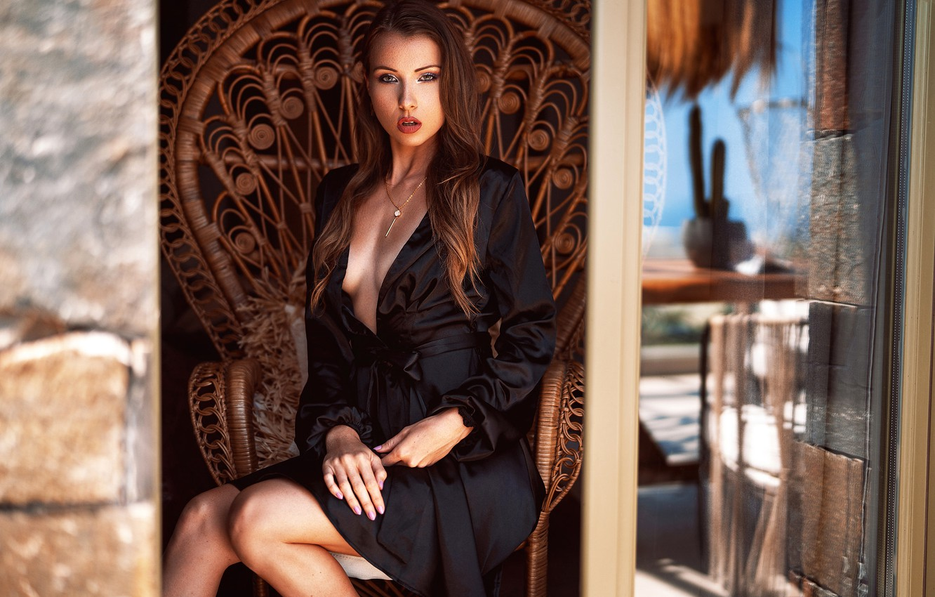 Photo wallpaper look, sexy, pose, model, portrait, makeup, figure, dress, hairstyle, brown hair, legs, sitting, in the …