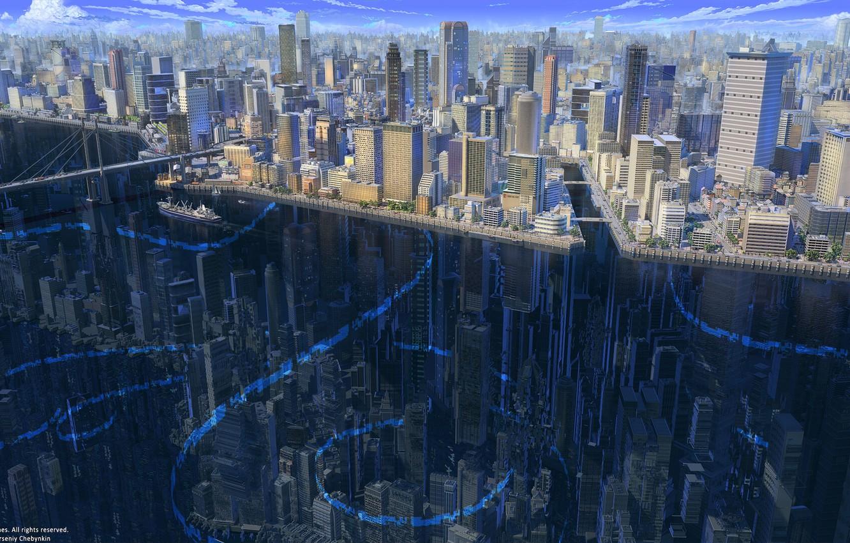 Photo wallpaper Reflection, The city, River, Building, City, The ship, Architecture, Bridge, Skyscrapers, River, Transport, Buildings, Architecture, …
