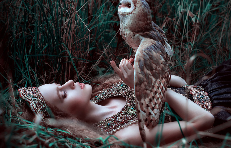 Photo wallpaper grass, girl, decoration, owl, bird, by Maria Lipina, Olga Krushina