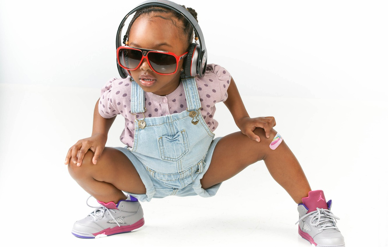Photo wallpaper pose, headphones, glasses, girl, white background, jumpsuit, child, sneakers, black