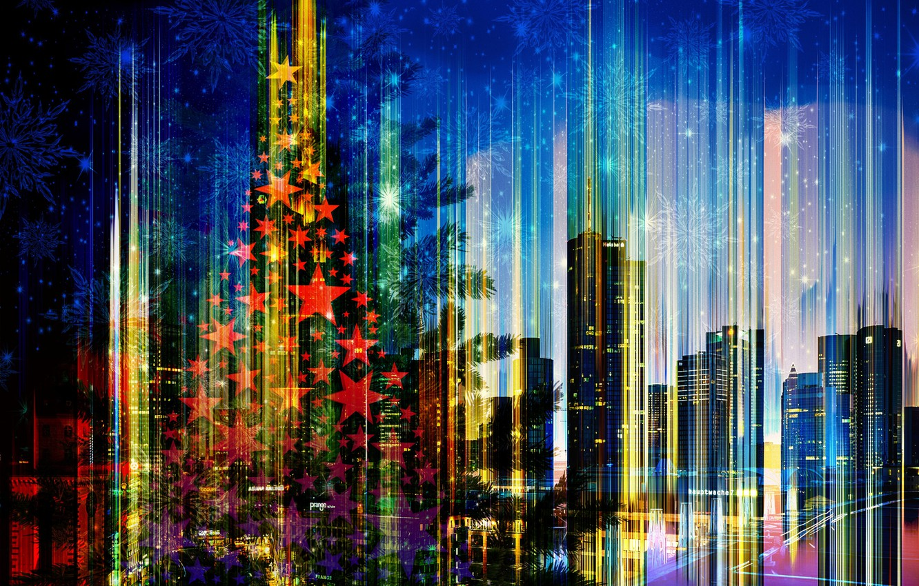 Photo wallpaper the city, holiday, Christmas, New Year, skyline