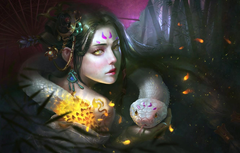 Photo wallpaper look, girl, face, color, snake, umbrella, fantasy, art, yellow eyes