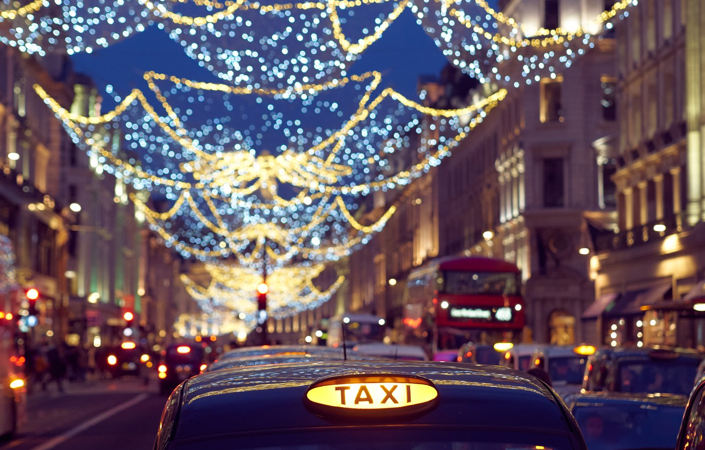 Photo wallpaper machine, street, England, London, taxi, garland, London, England, Regent Street