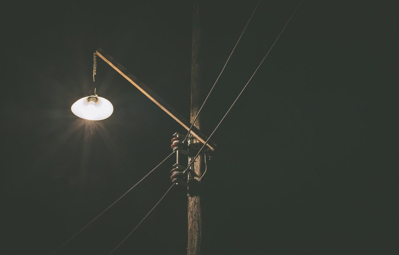 Photo wallpaper night, wire, post, lantern