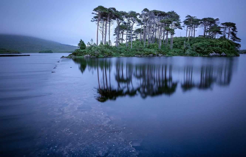 Photo wallpaper trees, lake, reflection, island, Ireland, Ireland, Connemara, Connemara, Derryclare Lough, Lake Dernekler Goof